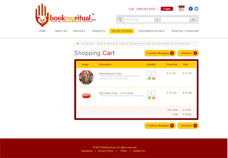 BookMyRitual Shopping Cart Page Design