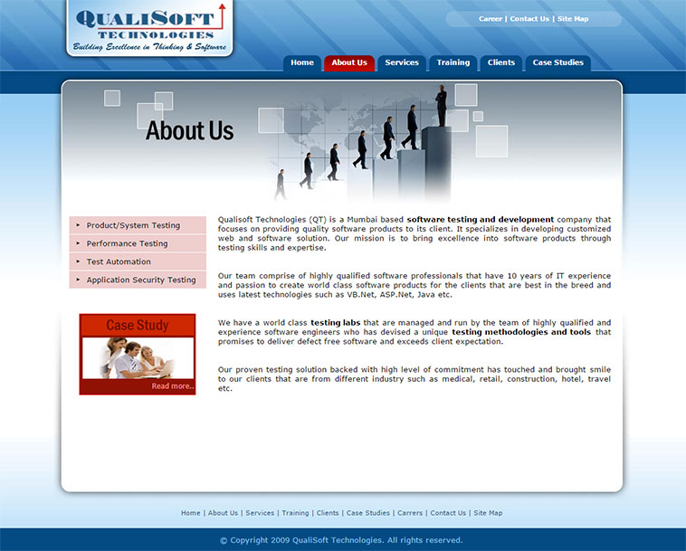 Qualisoft Technologies About Us Page Layout