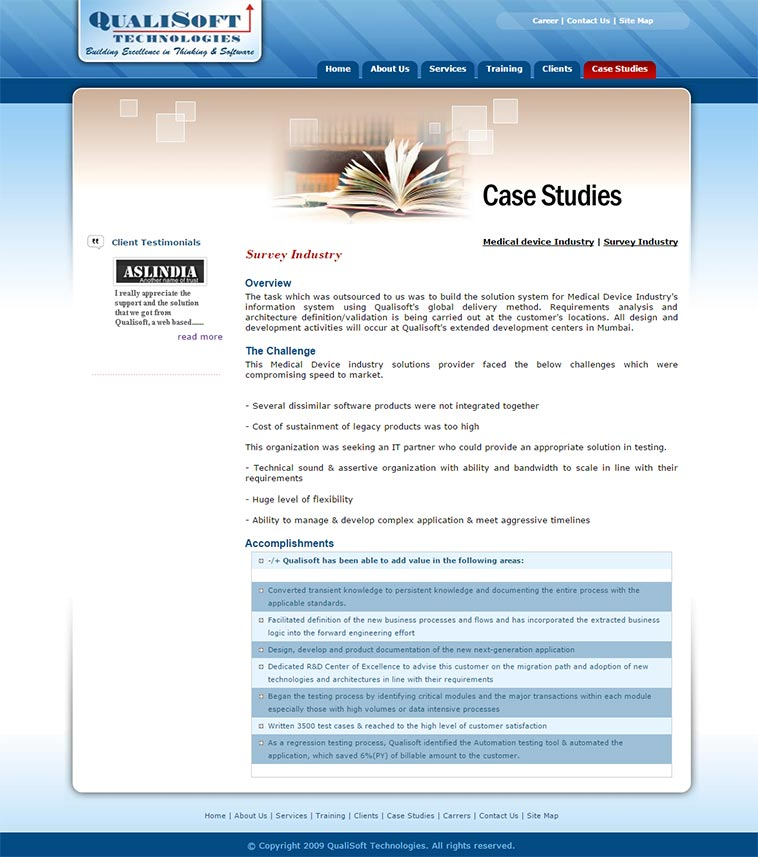 Qualisoft Technologies Internal Page Layout