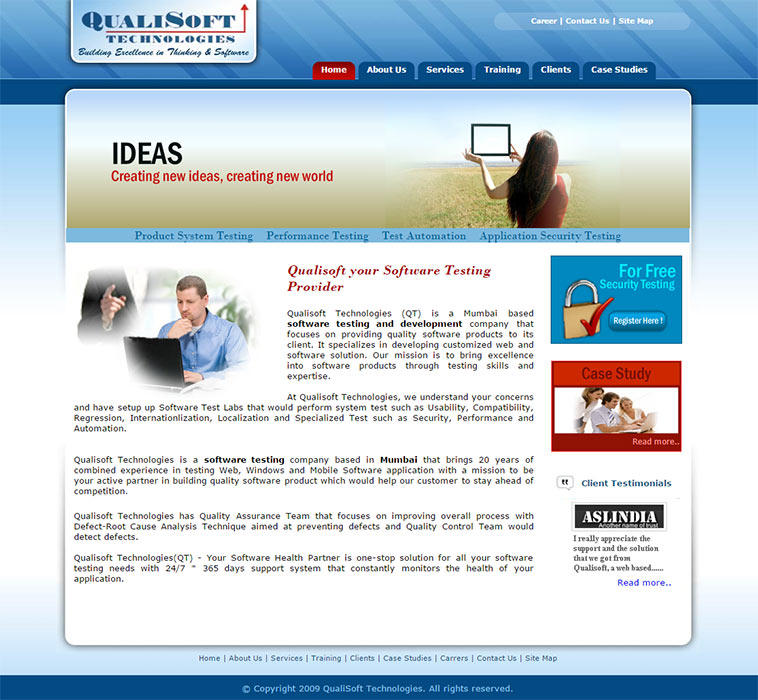 Qualisoft Technologies Home Page Layout